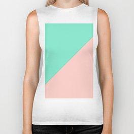 Simple minimalist pink mint green geometric color block Biker Tank