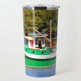 White And Green Boat Travel Mug