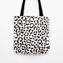 Trendy Black and White Leopard Print Pattern Tote Bag