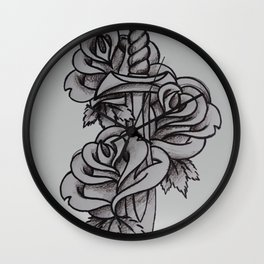 Dagger and roses black and white Wall Clock