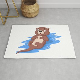 Otter Floating on Water Rug