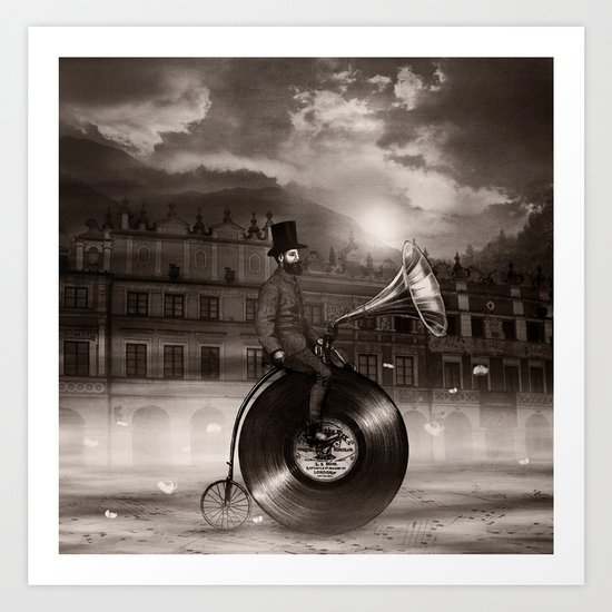 Music Man in the City, by Eric Fan and Viviana González Art Print