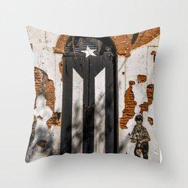 Puerto Rico Black flag Throw Pillow