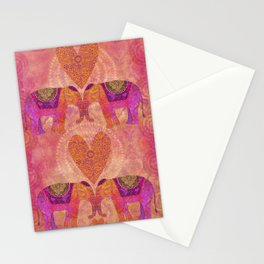 Elephants In Love With Heart Stationery Cards