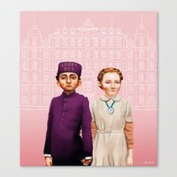 budapest hotel Canvas Prints featuring The Grand Budapest Hotel by Maripili