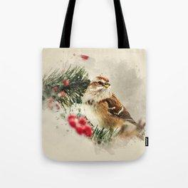 American Tree Sparrow Watercolor Art Tote Bag