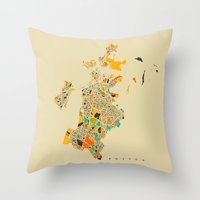 boston map Throw Pillows featuring Boston map by Nicksman