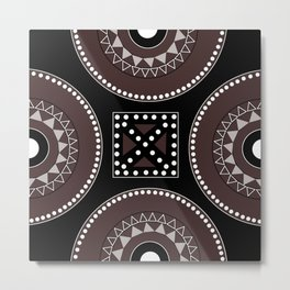 African tribal geometric decor, black, brown, white. Metal Print