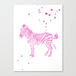 Zebra in pink Canvas Print