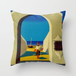 Vintage Spain Travel - Fisherman Throw Pillow