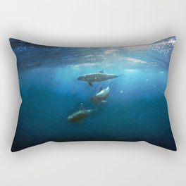 Swimming with Dolphins Rectangular Pillow