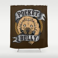 pocket Shower Curtains featuring Pocket Bully by Pancho the Macho