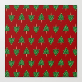 Christmas Tree Hand Drawing Pattern on Red Canvas Print