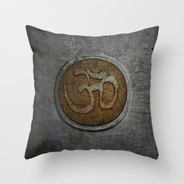 The sound of the Universe. Gold Ohm Sign On Stone Throw Pillow