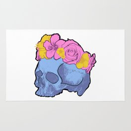 Cute Blue Skull with Pink and Yellow Flower Crown Rug