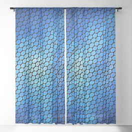 Blue LED Abstract Art Design Sheer Curtain
