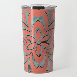 Geometric metallic flower coral grey Travel Mug
