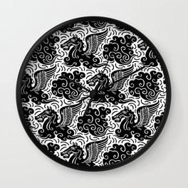 Pegasus Pattern Black-White Wall Clock