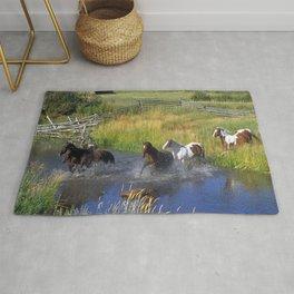 Horses Running Through Water Rug