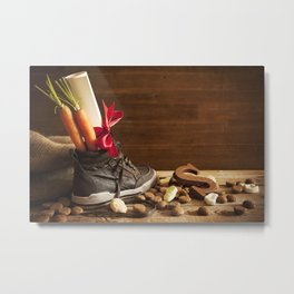 Shoe with carrots, for traditional Dutch holiday 'Sinterklaas' Metal Print