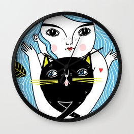 Cat Friend Forever (Blue Version) Wall Clock