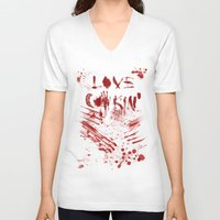 cooking V-neck T-shirts featuring Love cooking by Poizon Poizon