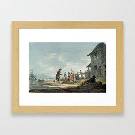 Fishermen at work on the foreshore Framed Art Print