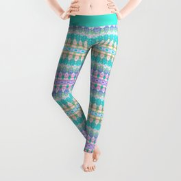 Tribal Diamonds Watercolour Pastel Leggings
