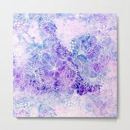 Modern purple pastel pink peacock watercolor hand drawn white floral pattern Metal Print
