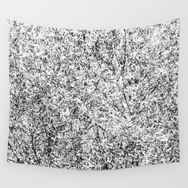 Willow tree in black and white Wall Tapestry
