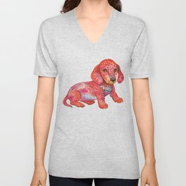 Mini Dachshund  Unisex V-Neck