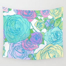 Pop Roses in Bright Preppy Colors Wall Tapestry