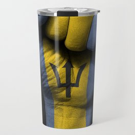 Barbados Flag on a Raised Clenched Fist Travel Mug