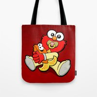 elmo Tote Bags featuring Baby Elmo & Dorothy by BinaryGod.com