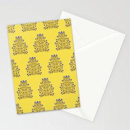 Indian Floral Motif Pattern - Blue and Yellow Stationery Cards