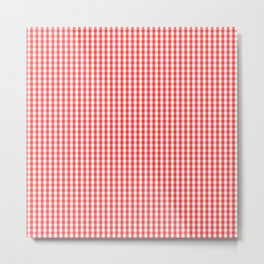 Small White and Donated Kidney Pink Halloween Gingham Check Metal Print
