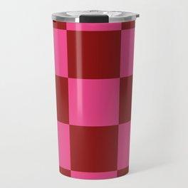 Red and Pink Checker Leviathan Travel Mug