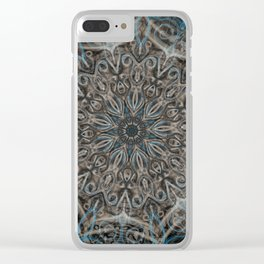 Blue and black Center Swirl Clear iPhone Case