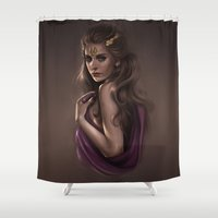 cassandra jean Shower Curtains featuring Cassandra - Princess of Troy by KlsteeleArt
