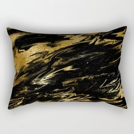 Luxury and sparkle gold glitter and black marble Rectangular Pillow