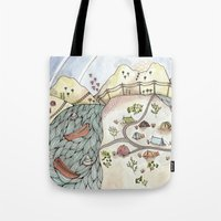 camp Tote Bags featuring Desert Camp by Brooke Weeber