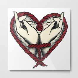 Hands with bow tattoo traditional Metal Print