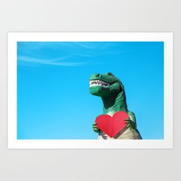 Tiny Arms, Big Heart: Tyrannosaurus Rex with Red Heart Art Print