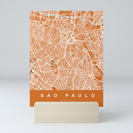 Sao Paulo City Map | Brazil | Orange | More Colors, Review My Collections Mini Art Print