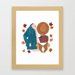 Sweater Weather flat lay drawing // autumn leaves, boots, hat, jean jacket Framed Art Print