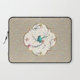 Hummingbird and Butterflies Gold Confetti Laptop Sleeve