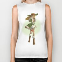 pin up Biker Tanks featuring Pin up by paul drouin