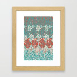floral paisley in vermillion and teal Framed Art Print