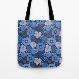 blue anemones and roses Tote Bag