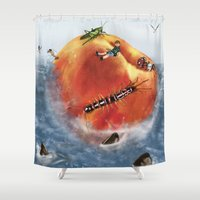 roald dahl Shower Curtains featuring James And The Giant Peach. by Jamie Briggs